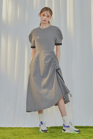[5차 재입고][[19SUMMER] Gingham Check Shirring Dress [BLACK]