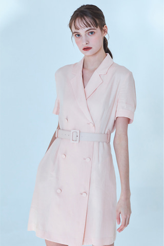 [20SS] Claire Linen Jacket Dress [Peach Pink]