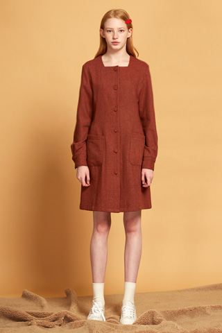 Square Neck Button Dress_OR