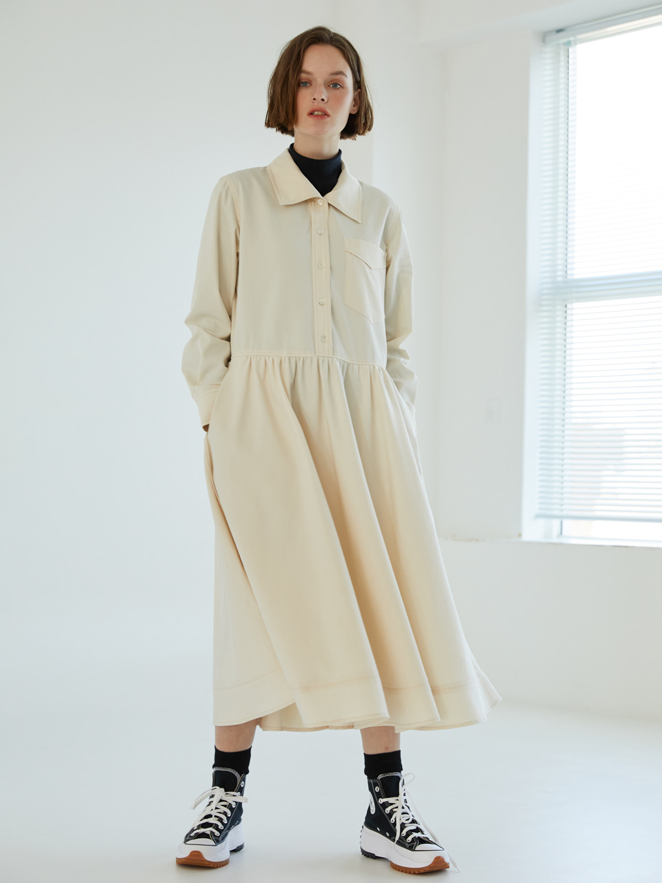 [전혜빈 착용] Layer Collar stitch Dress [Cream]