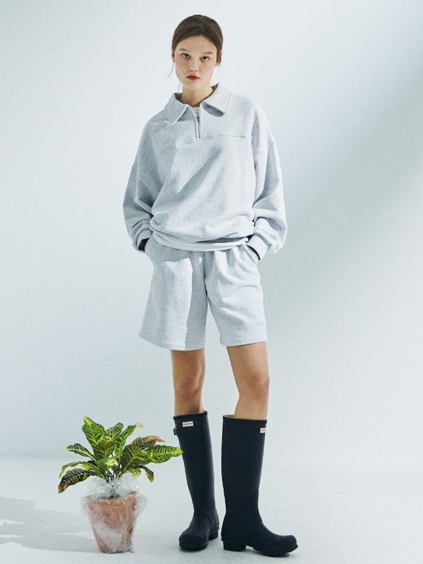 [SET 할인] Half Zip Up Sweatshirt + Short Sweat Pants [Light Grey]
