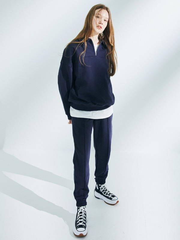 [마우스 박주현 착용][SET 할인]  Half Zip Up Sweatshirt + Line Jogger Pants [Navy]