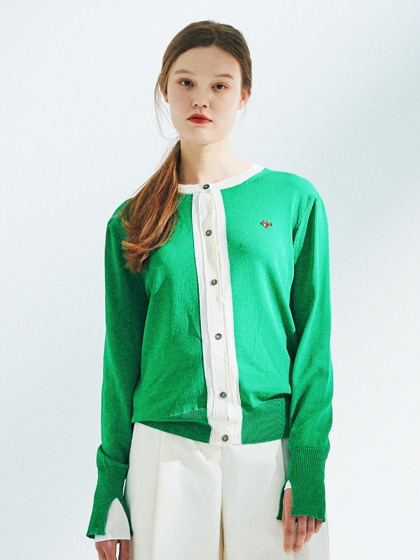 Layered Sleeve Cardigan [Green]