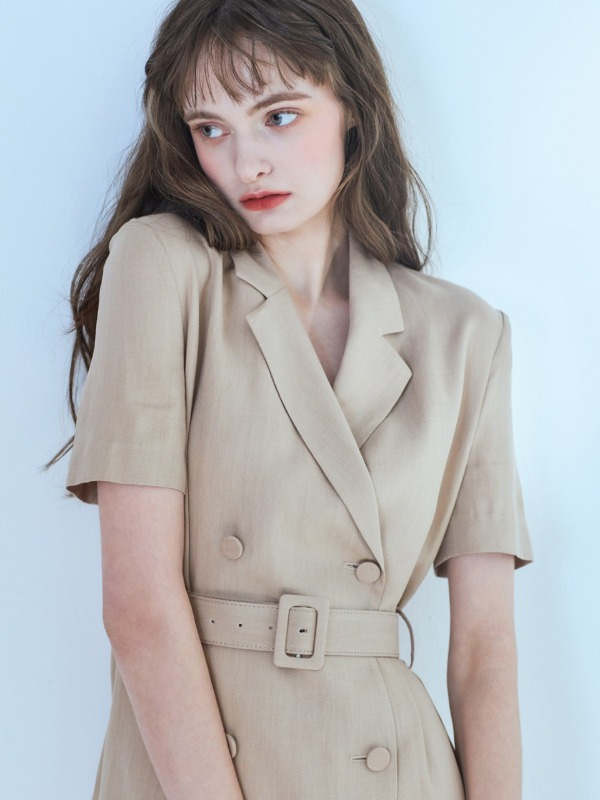 Claire Linen Jacket Dress [Beige]