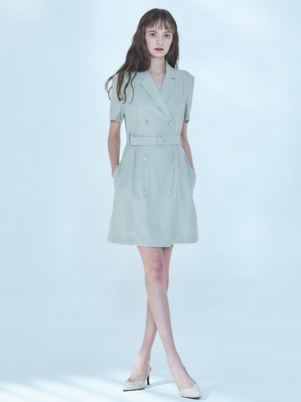 Claire Linen Jacket Dress [Mint Gray]