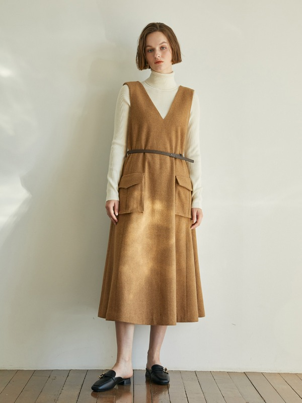 Poche Wool Flare Dress [Brown]