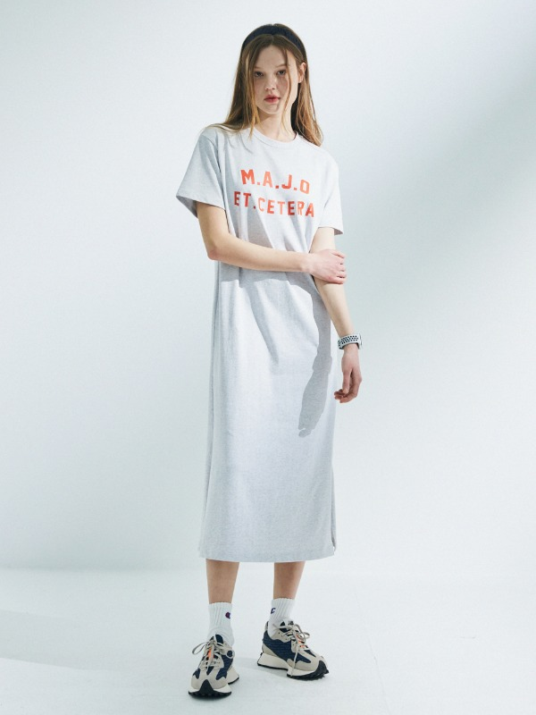 Classic T-Shirt Long Dress [Light Grey]