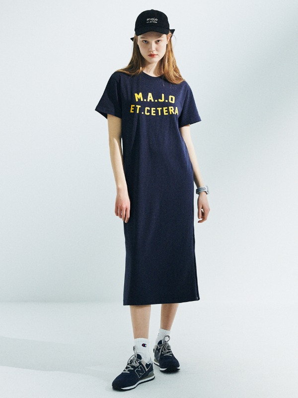 Classic T-Shirt Long Dress [Navy]