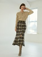 Anne Check Mermaid Wool Skirt [Khaki]